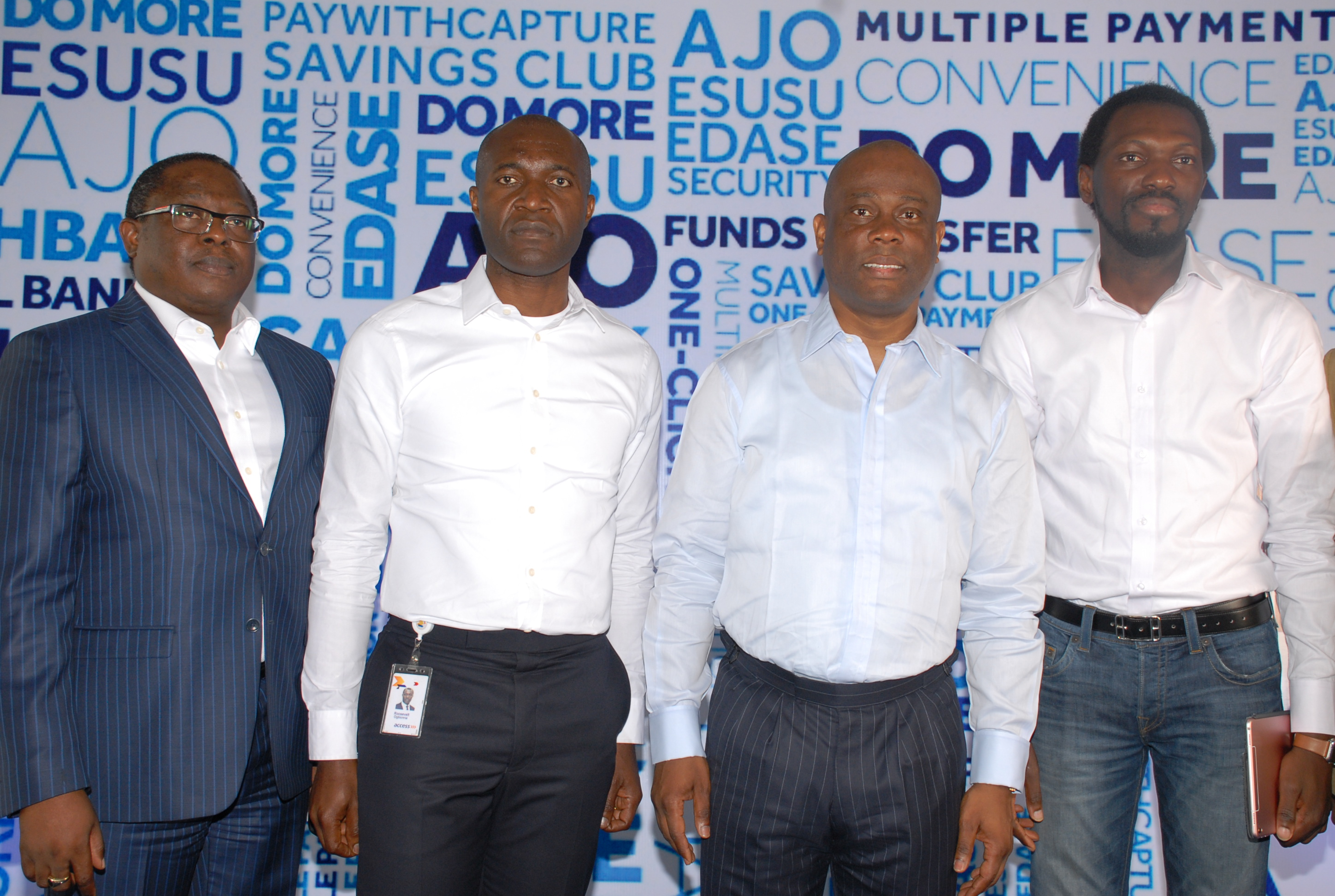 L-R: Executive Director, Personal Banking Division, Access Bank Plc, Victor Etuokwu; Executive Director, Commercial Banking Division, Access Bank Plc, Roosevelt Ogbonna; Group Managing Director, Access Bank Plc, Herbert Wigwe and Head, Digital Factory and Innovation, Access Bank Plc, Olugbenga Agboola at the launch of the Bank's upgraded lifestyle solution, PayWIthCapture5.0 at the Civic Center yesterday.