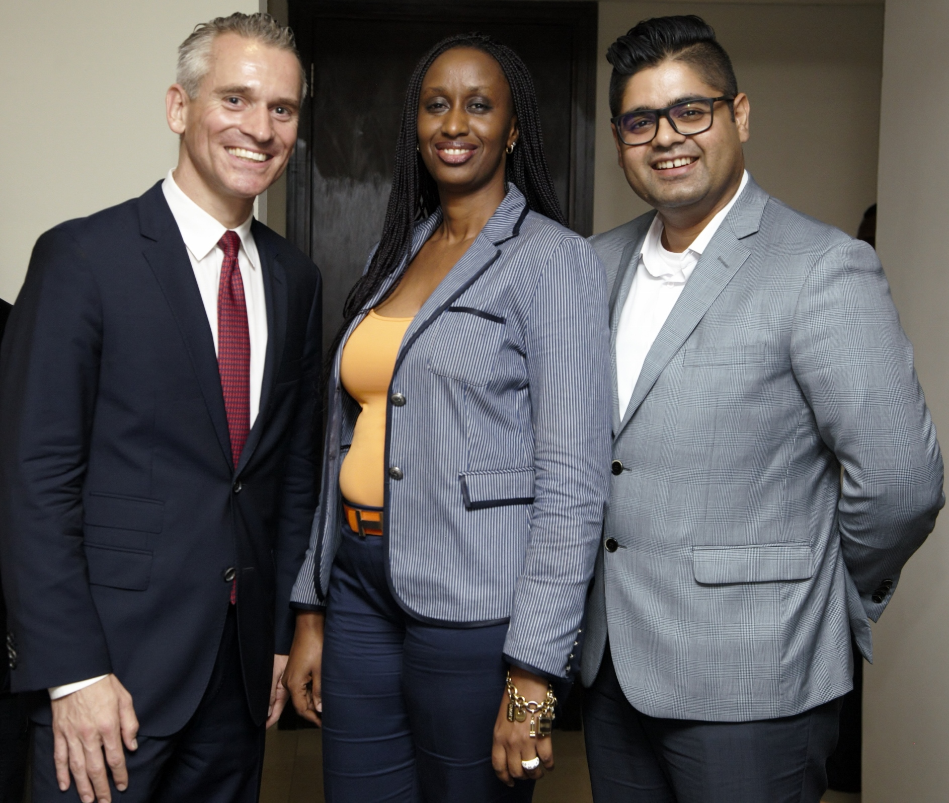 L-R: Daniel Weihrauch, CEO Lions&Gazelles; Fifi Rurangwa, Head of Africa Expansion, Wakanow and AbdulRaouf AbdulRazak, Deputy Head of Sales, Dubai Parks and Resorts during the unveiling of Dubai Parks and Resorts in Lagos.
