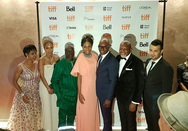 L-R: Bolanle Austen-Peters, Producer, '93 Days' film with cast at the Toronto Film Festival.