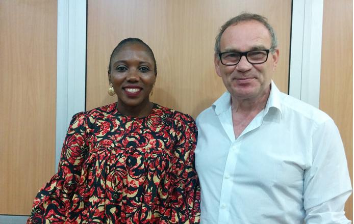 Carol Arhere, communications officer, Da Viva with Steve Dutton, brand manager, Da Viva at the media briefing on Tuesday. IMAGE/TLR
