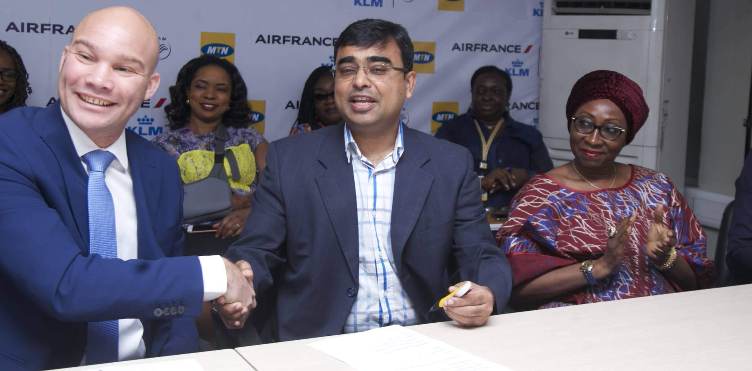 Commercial Director Nigeria and Ghana, Air France KLM, Mr. Arthur Dieffenthaler; Chief Marketing Officer, MTN Nigeria, Mr. Rahul De and Human Resource and Corporate Services Executive, Mrs. Amina Oyagbola at the MTN – Air France KLM partnership announcement in Lagos