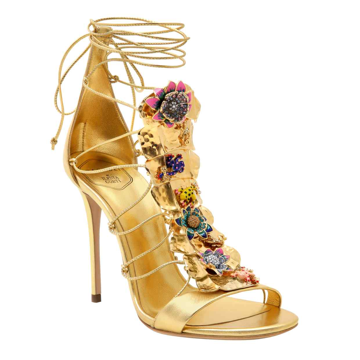 Casadei by Ilenia Corti metal plaque leather sandals, £1,800 | Image: Omer Knaz