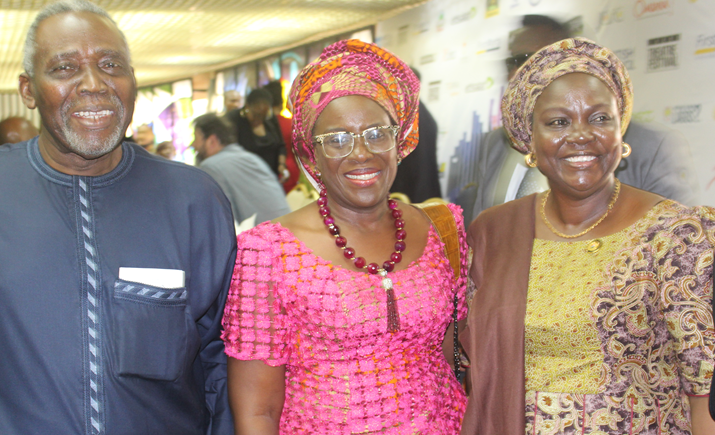 Veteran Actor Olu Jacobs, Joke Silva and Acting HON Commissioner for Tourism, Arts and Culture at the British Council sponsored Lagos Theater Festival Symposium