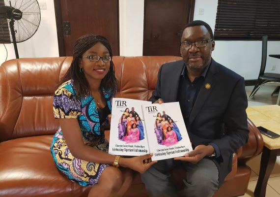 Steve Ayorinde, Lagos Commissioner for Tourism, Arts and Culture with Funke Osae-Brown, Publisher, The Luxury Reporter during the presentation of the magazine to the commissioner in Lagos