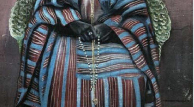 Akinola Lasekan's Portrait of a man, 1956 Oil on board, 48 x 33.5 in.